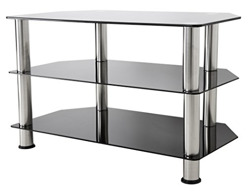 AVF SDC800-A  TV Stand for up to 42-inch TVs, Black Glass, Chrome Legs ()