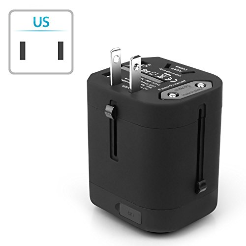 Insten Universal Worldwide Travel Adapter Wall Charger Power Plug AC Adapter with Dual USB Charging Ports for US/EU/UK/AU International Cellphone Laptop, Black by INSTEN (Image #4)