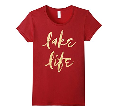 Womens Lake Life Vacation Script Gold Foil Texture Graphic T-Shirt Large Cranberry (Shirt Womans Foil Script)