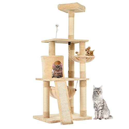 (SUNCOO 62 Inches Multi-Level Cat Tree Tower with Sisal Covered Scratching Post Cat Condo Pet House Furniture for Kitties, Stable, Beige.)