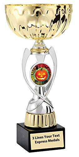 Express Medals Gold - Silver Halloween Metal Trophy Plastic Stem Cup Marble Base and Personalized Engraved Plate
