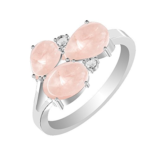 GOURIK 3.50ctw, Genuine Cabochon Rose Quartz 6x9mm Pear & Silver Plated Three Stone Ring (Size-9) Quartz Silver Plated Ring