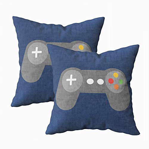 Musesh Pack of 2 Blue Video Games Controller Lumbar Cushions Case Throw Pillow Cover for Sofa Home Decorative Pillowslip Gift Ideas Household Pillowcase Zippered Pillow Covers 18X18Inch