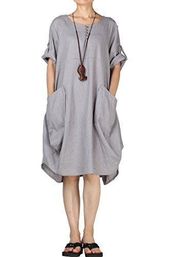 Mordenmiss Women's Cotton Linen Dresses Plus Size Summer Roll-up Sleeve Baggy Sundress with Pockets L -