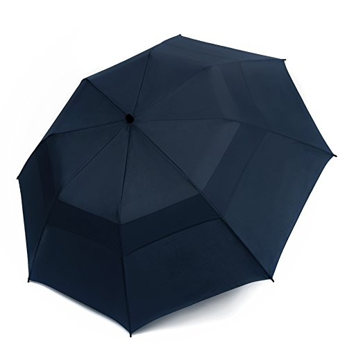 EEZ-Y Folding Golf Umbrella 58-inch Large Windproof Double Canopy - Auto Open, Sturdy and Portable (Navy Blue)