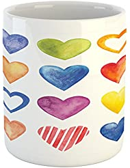 Ambesonne Grunge Mug, Rainbow Heart Shapes Love Valentine's Day Design Romantic His and Hers Theme, Printed Ceramic Coffee Mug Water Tea Drinks Cup, Red Blue Yellow