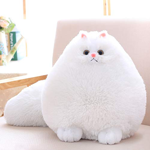 Winsterch Kids Cat Stuffed Animal Toys Gift Plush Cat Animal Baby Doll, Fat White Plush Cat,12 Inches (Anime Girl With Black Hair And White Eyes)