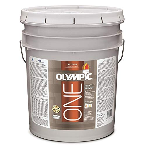 Olympic One White Latex Enamel Exterior Paint and Primer in One Tintable 5 Gallons (Semi-Gloss)