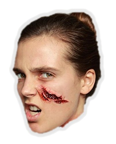 Ghoulish Productions Large Slice Latex Appliance Adult Halloween Cut Gash Wound Prosthetic (Halloween Makeup Cuts Gashes)