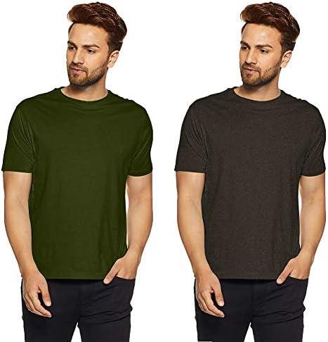 9c4515dbb Ulta Anda Plain Green and Dark Grey T-Shirt for Men Pack of 2 | Basic T- Shirt | Half Sleeve T-Shirt | Round Neck T Shirt | 100% Pure Cotton: Amazon. in: ...