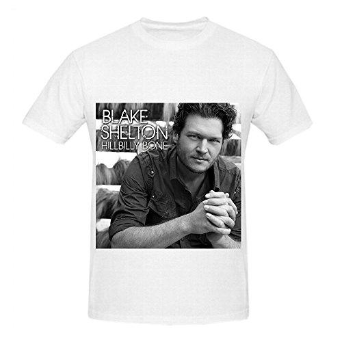 Blake Shelton Hillbilly Bone Electronica Men Crew Neck Short Sleeve Shirt White