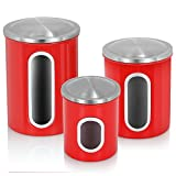 Fortune Candy Canister Set for Kitchen 3 Pieces Stainless Steel Food Storage Canisters with Airtight Lid Multi-purpose Kitchen Canister, Red