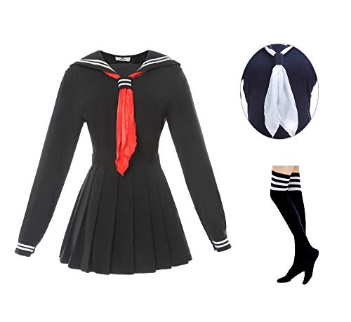 Japanese School Girl Uniform Costumes - ROLECOS Womens Sailor School Uniform Dress