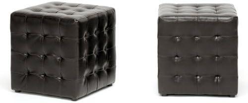 Siskal Dark Brown Modern Cube Ottoman
