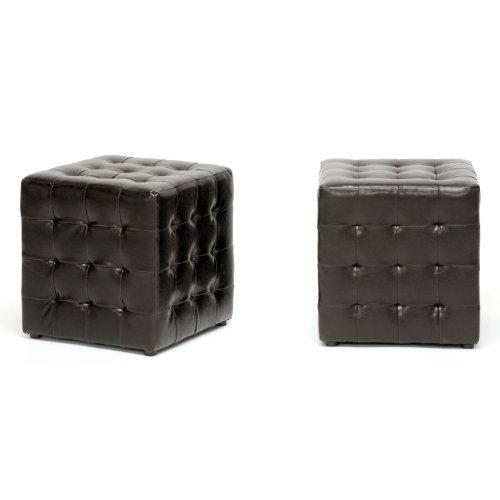 Wholesale Ottoman Interiors Leather (Siskal Dark Brown Modern Cube Ottoman)