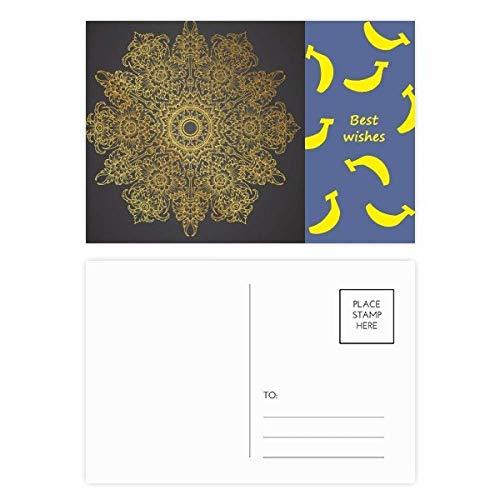 Thai Banana Paper - Thai Customs Culture Spread Gold Foil Banana Postcard Set Thanks Card Mailing Side 20pcs