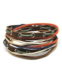 Jirong Soft Leather Multicolour Ropes Men or Women Leather Bracelet Wristband Cuff Bracelet SL2285