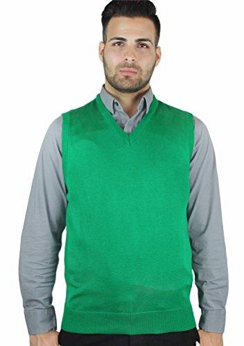 Blue Ocean Solid Color Sweater Vest Green Large
