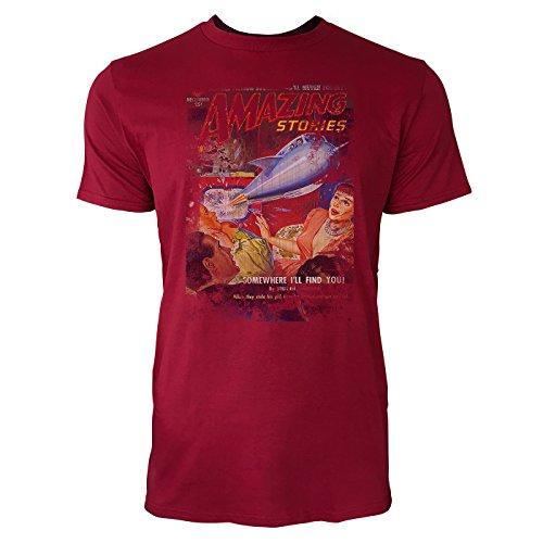 SINUS ART® Amazing Stories Herren T-Shirts stilvolles dunkelrotes Cooles Fun Shirt mit tollen Aufdruck