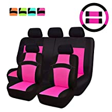 NEW ARRIVAL- CAR PASS RAINBOW Universal Fit Car Seat Cover -100% Breathable With 5mm Composite Sponge Inside,Airbag Compatible (14pcs, Rose Pink)