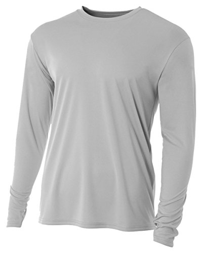 A4 Youth Cooling Performance Crew Long Sleeve T-Shirt, Silver, - Crew Shirt Fit Dri S/s