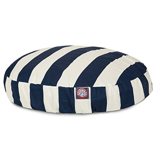 Navy Blue Vertical Stripe Large Round Indoor Outdoor Pet Dog Bed With Removable Washable Cover By Majestic Pet Products by Majestic Pet