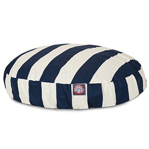 Navy Blue Vertical Stripe Large Round Indoor Outdoor Pet Dog