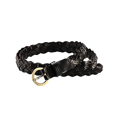 Ya Jin Leather Braided Waist Dress Belts with Single Prong Buckle for Women