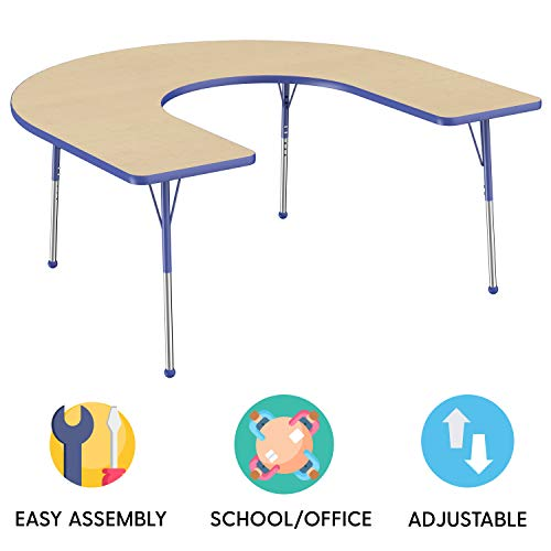 30 Inch Maple Top - FDP Horseshoe Activity School and Office Table (60 x 66 inch), Standard Legs with Ball Glides for Collaborative Seating Environments, Adjustable Height 19-30 inches - Maple Top and Blue Edge