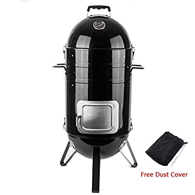 Sougem Charcoal Smoker Grill 14-inch Vertical Combo Water Smoker with a Grill Cover, Black