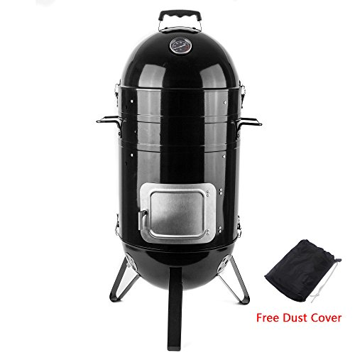 Sougem 14Inch Vertical Combo Charcoal Smoker with a Dust Cover, Black by Sougem