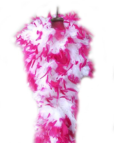 SACASUSA (TM) Fashion 100g Feather Chandelle Boa 6 feet long in White Hot Pink Tips]()