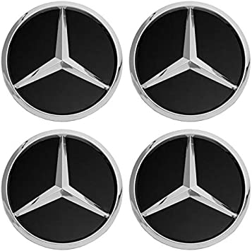 Motorup America Wheel Center Cap for Mercedes Benz Accessories - (Pack of 4) Wheels Tire Hub Rim Caps Best for 75mm MB Rims Car Accessory - Black AMG ...
