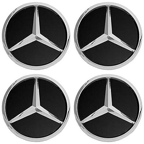 Motorup America Wheel Center Cap for Mercedes Benz Accessories - (Pack of 4) Wheels Tire Hub Rim Caps Best for 75mm MB Rims Car Accessory - Black AMG ...