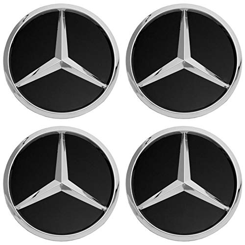 Motorup America Wheel Center Cap for Mercedes Benz Accessories - (Pack of 4) Wheels Tire Hub Rim Caps Best for 75mm MB Rims Car Accessory - Black AMG Logo Emblem Covers ()
