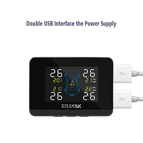 ERAYAK Tire Pressure Monitoring System Wireless TPMS with 4 Waterproof External Sensors and Dual 5V USB Ports, Built-in Visual and Audio Alarm System by ERAYAK (Image #3)