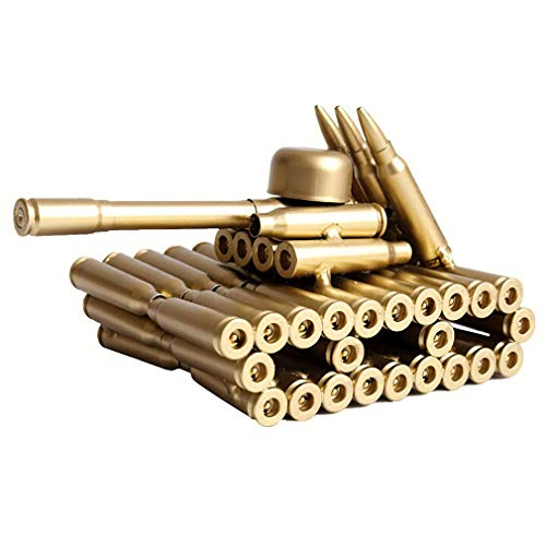 Singeek Bullet Shell Casing Shaped Army Tank Metal Sculpture,Great Decorative Artwork Model Gift for Home,Study Room Decorations (95 Tank) ()