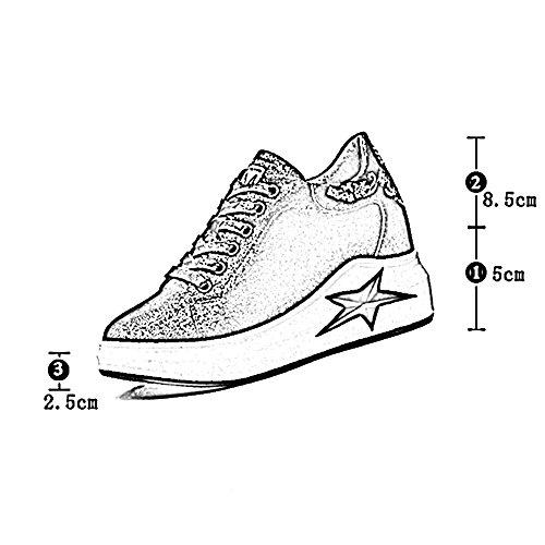 Fondo Al Zapatos Tamaños Tamaño color l Gris Zapatillas Grueso uk4 230mm Primavera Plata Cordones Mujer 5 Para Deporte Libre De 6 Plata Aire Liangjun Eu36 qxwA0vq