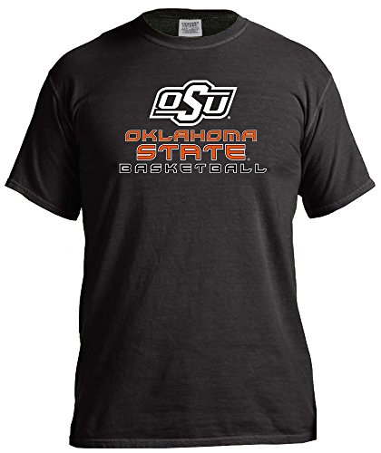 NCAA Oklahoma State Cowboys Basketball Energy Short Sleeve Comfort Color Tee, Large,Black (Basketball State Cowboys Oklahoma)