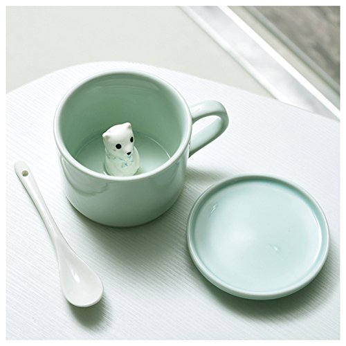 3D Cute Cartoon Miniature Animal Figurine Ceramics Coffee Cup with Spoon - Baby Animals Inside, Best Birthday Gift Idea (Bear)