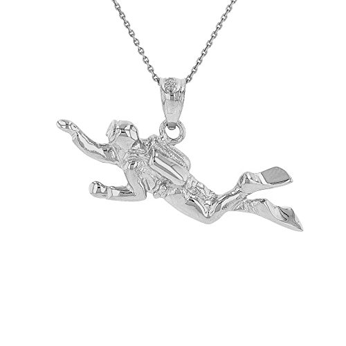 Sports Charms Sterling Silver 3D Scuba Diver Diving Frogmen Pendant Necklace, 18