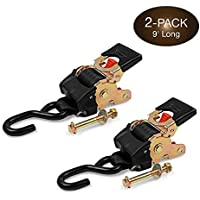 2 Quick n Easy AutoRetract Strap Cargo Tie Downs - Retractable 1 Inch x 9 Ft Bolt-on Ratchet Straps w/S Hook for…