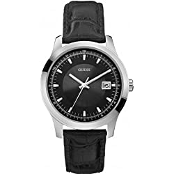 Guess W0250G1 mm Stainless Steel Case Black Leather Mineral Men's Watch