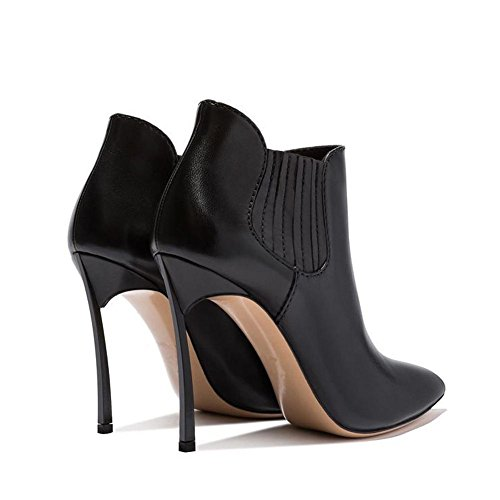 Fashion Leather Thin Boots Shoes Elastic Short Heels Women High Pointed Ankle BLACK 34 Band rqSra