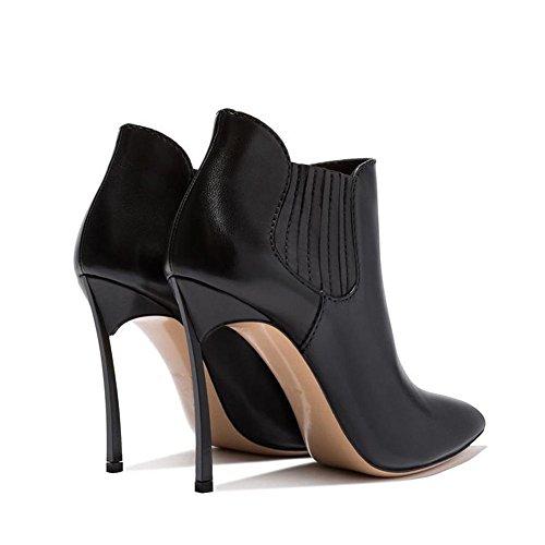 35 Guantes banda D Mujeres 40 ¹ puntiaguda Botas BLACK ¨ BLACK High Piel Corto Ankle nne elástica Mode Heels 74xWCC