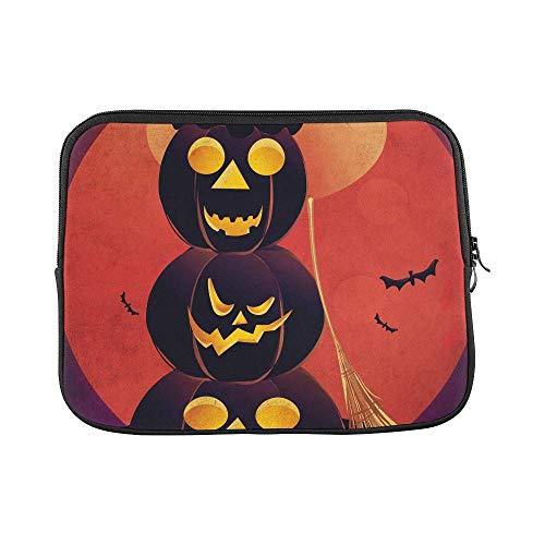 Khom Laptop Sleeve Bag- Custom Illustration of Halloween Pumpkins Silhouettes Wit Sleeve Soft Print Laptop Case Laptop Sleeve Bag MacBook Pro 15 inch ()