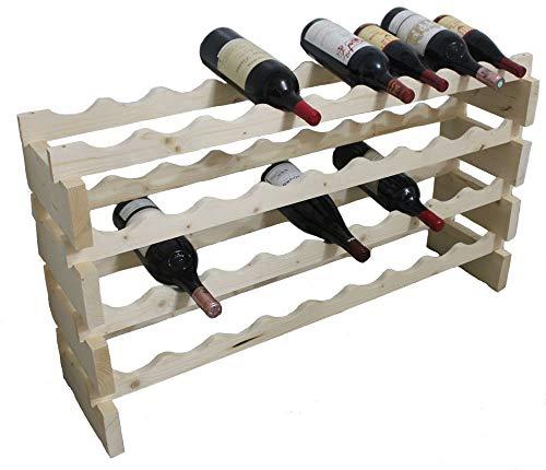 DisplayGifts Magnum Bottle Stackable Modular Wine Rack Storage Stand Wooden Holder Shelves, WN50 (Natural Wood) For Sale