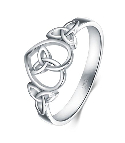 Celtic Wedding Ring Sets - 925 Sterling Silver Ring Boruo Celtic Knot Heart High Polish Tarnish Resistant Eternity Wedding Band Stackable Ring Size 8