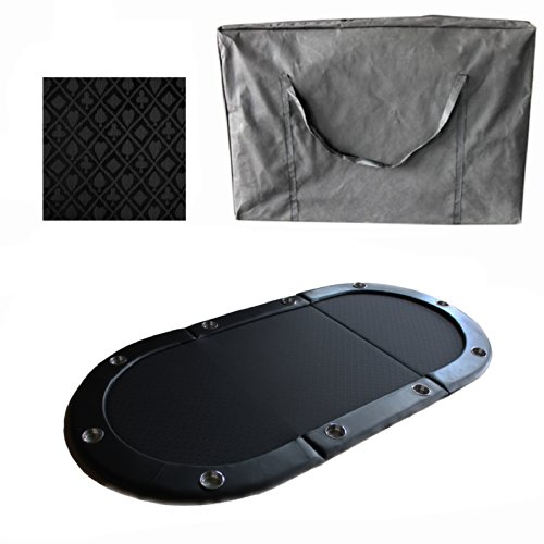 10 Player 84'' 3 Fold Folding Texam Hold'em Poker Table Top Black Suits Speed Cloth Stainless Cup Holder by Pong-Buddy