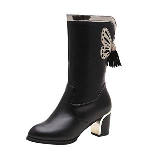 Elevin(TM) 2018Women Winter Fashion Warm Tassel Plush Martin Square Heels Combat Boots Shoes Black J2BLbY671